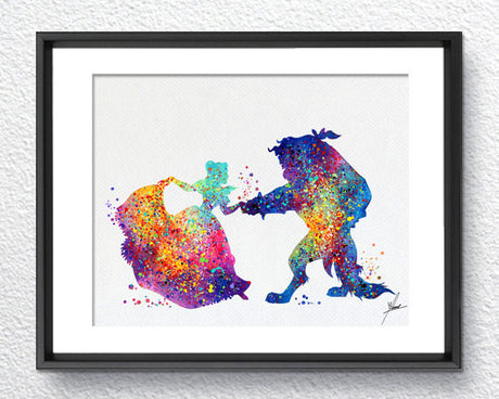 Beauty and The Beast Watercolor Print Disney Fine Art Print Kids Art for Boys and Girls Nursery Art Wedding Gift Prince Room Item 084