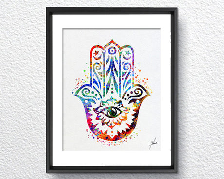Hamsa Hand Watercolor illustrations Art Print Poster Handmade Wall Decor Art Home Decor Wall Hanging aum om Item 089