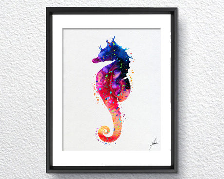 Seahorse Sea Life Watercolor illustrations Wall Art Poster  Wall Decor Art Home Decor Wall Hanging Item 091