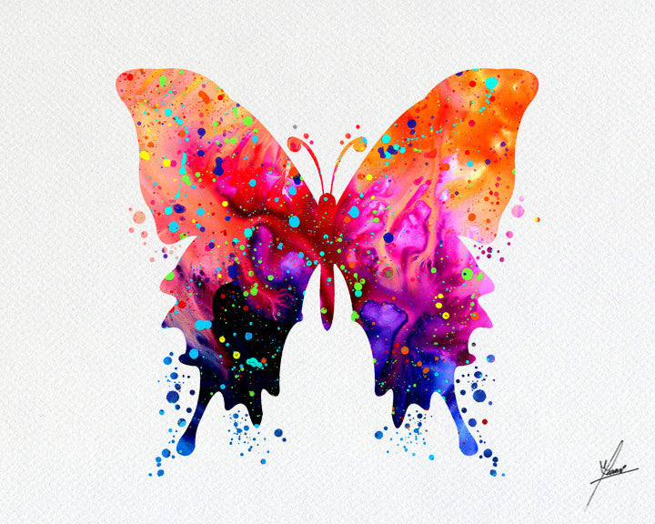 Butterfly Watercolor illustration Art Print -  Item092