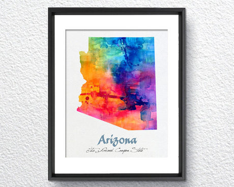 Arizona Map USA, Watercolor Print, Art Print, Wall Art Poster, Wall Decor, Art Home Decor, Wall Hanging Item 097
