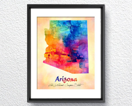 Arizona Map USA, Watercolor Print, Art Print, Wall Art Poster, Wall Decor, Art Home Decor, Wall Hanging Item 096