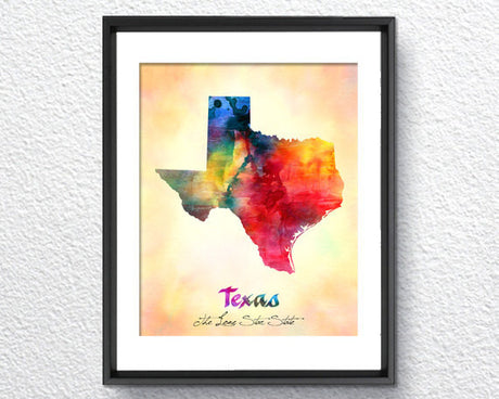 Texas Map USA, Watercolor Print, Art Print, Wall Art Poster, Wall Decor, Art Home Decor, Wall Hanging Item 116