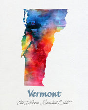Vermont Map USA, Watercolor Print, Art Print, Wall Art Poster, Wall Decor, Art Home Decor, Wall Hanging Item119