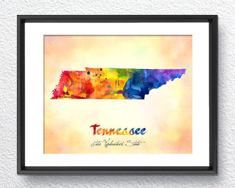Tennessee Map USA, Watercolor Print, Art Print, Wall Art Poster, Wall Decor, Art Home Decor, Wall Hanging Item 129