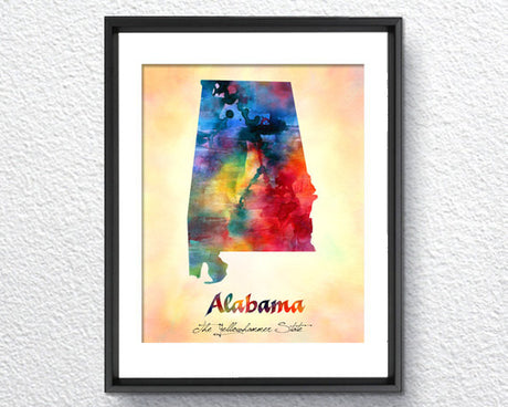 Alabama Map USA, Watercolor Print, Art Print, Wall Art Poster, Wall Decor, Art Home Decor, Wall Hanging Item 131