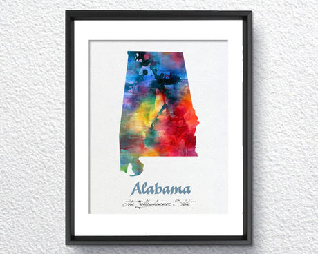 Alabama Map USA, Watercolor Print, Art Print, Wall Art Poster, Wall Decor, Art Home Decor, Wall Hanging Item 132