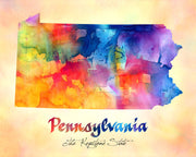 Pennsylvania Map USA, Watercolor Print, Art Print, Wall Art Poster, Wall Decor, Art Home Decor, Wall Hanging Item 135