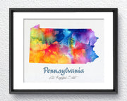 Pennsylvania Map USA, Watercolor Print, Art Print, Wall Art Poster, Wall Decor, Art Home Decor, Wall Hanging Item 136