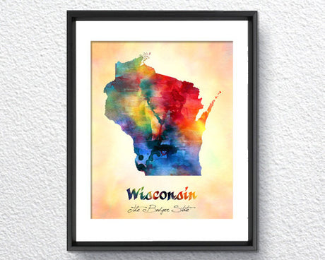 Wisconsin Map USA, Watercolor Print, Art Print, Wall Art Poster, Wall Decor, Art Home Decor, Wall Hanging Item 137