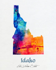 Idaho Map USA, Watercolor Print, Art Print, Wall Art Poster, Wall Decor, Art Home Decor, Wall Hanging Item 142