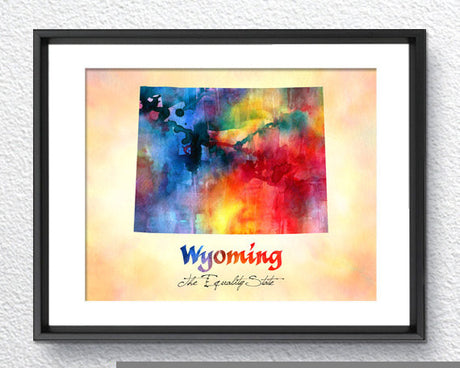 Wyoming Map USA, Watercolor Print, Art Print, Wall Art Poster, Wall Decor, Art Home Decor, Wall Hanging Item 153