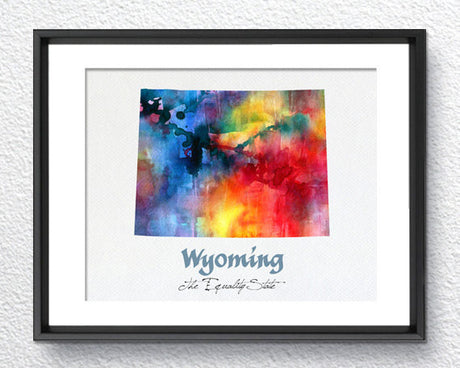 Wyoming Map USA, Watercolor Print, Art Print, Wall Art Poster, Wall Decor, Art Home Decor, Wall Hanging Item 154