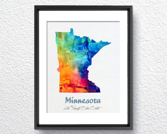 Minnesota Map USA, Watercolor Print, Art Print, Wall Art Poster, Wall Decor, Art Home Decor, Wall Hanging Item 144
