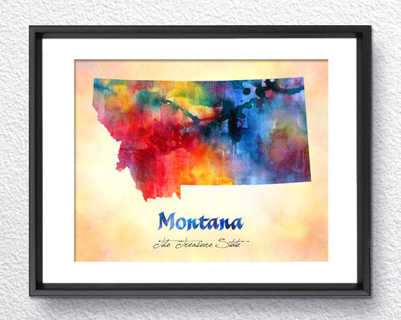 Montana Map USA, Watercolor Print, Art Print, Wall Art Poster, Wall Decor, Art Home Decor, Wall Hanging Item 149