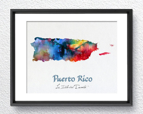 Puerto Rico Map, Watercolor Print, Art Print, Wall Art Poster, Wall Decor, Art Home Decor, Wall Hanging Item 156