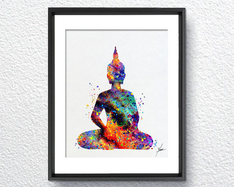 Buddha Yoga Pose Watercolor Illustrations Art Print Poster Handmade Wall Decor Art Home Decor Wall Hanging aum om Item 157