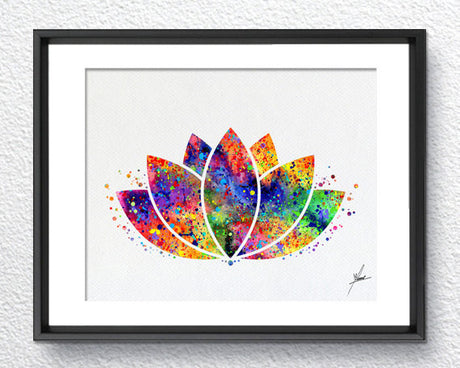Lotus Flower Yoga Symbol Watercolor Illustrations Art Print Poster Handmade Wall Decor Art Home Decor Wall Hanging aum om Item 156