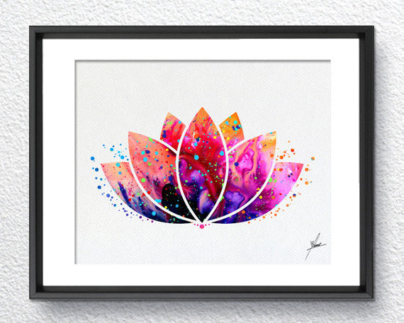 Lotus Flower Yoga Symbol Watercolor Illustrations Art Print Poster Handmade Wall Decor Art Home Decor Wall Hanging aum om Item 159