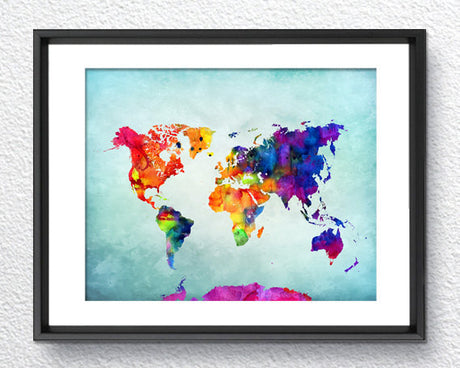 World Map, Watercolor Print, Art Print, Wall Art Poster, Wall Decor, Art Home Decor, Wall Hanging Item 160