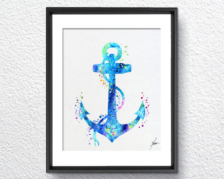 Aqua Blue Anchor Watercolor Print Item 163