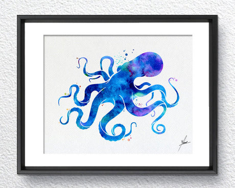 Blue Octopus, Watercolor Print, Wall Decor, Room Decor, Nautical Art, Blue Ocean, Item 166
