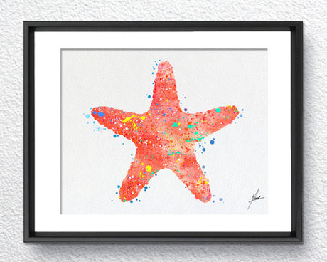 Red Starfish, Watercolor Print, Wall Decor, Room Decor, Nautical Art, Blue Ocean, Item 168