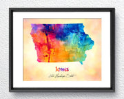 Iowa Map USA, Watercolor Print, Art Print, Wall Art Poster, Wall Decor, Art Home Decor, Wall Hanging Item 175