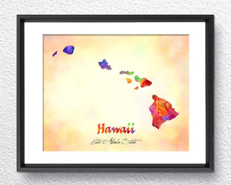 Hawaii Map USA, Watercolor Print, Art Print, Wall Art Poster, Wall Decor, Art Home Decor, Wall Hanging Item 171