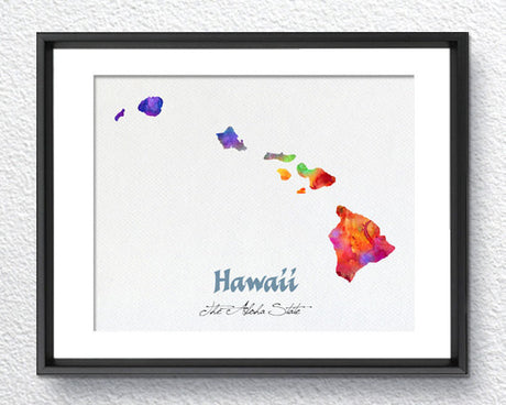 Hawaii Map USA, Watercolor Print, Art Print, Wall Art Poster, Wall Decor, Art Home Decor, Wall Hanging Item 172