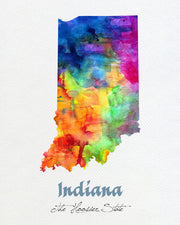 Indiana Map USA, Watercolor Print, Art Print, Wall Art Poster, Wall Decor, Art Home Decor, Wall Hanging Item 174
