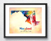 Maryland State Map USA, Watercolor Print, Art Print, Wall Art Poster, Wall Decor, Art Home Decor, Wall Hanging Item 185