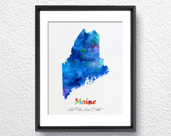 Maine State Map USA, Watercolor Print, Art Print, Wall Art Poster, Wall Decor, Art Home Decor, Wall Hanging Item 184