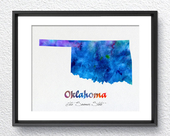 Oklahoma State Map USA, Watercolor Print, Art Print, Wall Art Poster, Wall Decor, Art Home Decor, Wall Hanging Item 192