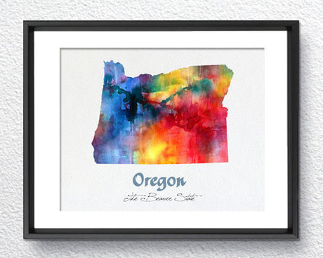 Oregon State Map USA, Watercolor Print, Art Print, Wall Art Poster, Wall Decor, Art Home Decor, Wall Hanging Item 196