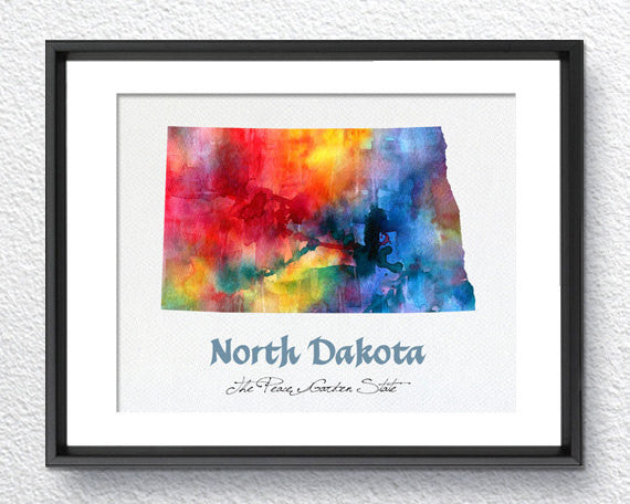 North Dakota State Map USA, Watercolor Print, Art Print, Wall Art Poster, Wall Decor, Art Home Decor, Wall Hanging Item 190