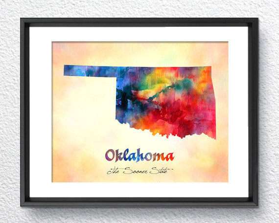 Oklahoma State Map USA, Watercolor Print, Art Print, Wall Art Poster, Wall Decor, Art Home Decor, Wall Hanging Item 191