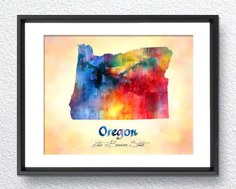 Oregon State Map USA, Watercolor Print, Art Print, Wall Art Poster, Wall Decor, Art Home Decor, Wall Hanging Item 194