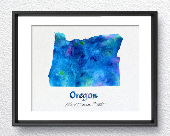 Oregon State Map USA, Watercolor Print, Art Print, Wall Art Poster, Wall Decor, Art Home Decor, Wall Hanging Item 195