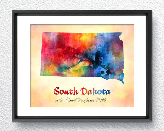 South Dakota State Map USA, Watercolor Print, Art Print, Wall Art Poster, Wall Decor, Art Home Decor, Wall Hanging Item 197