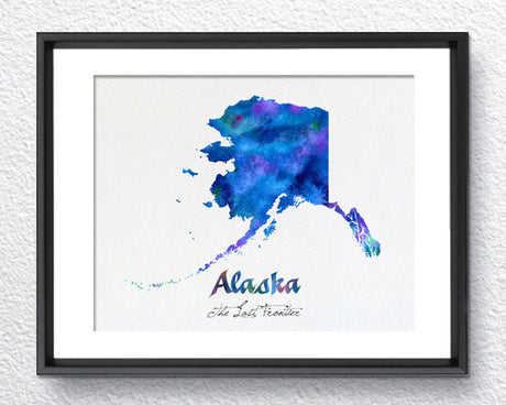 Alaska State Map USA, Watercolor Print, Art Print, Wall Art Poster, Wall Decor, Art Home Decor, Wall Hanging Item 201