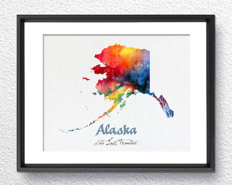 Alaska State Map USA, Watercolor Print, Art Print, Wall Art Poster, Wall Decor, Art Home Decor, Wall Hanging Item 202
