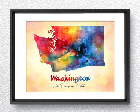 Washington State Map USA, Watercolor Print, Art Print, Wall Art Poster, Wall Decor, Art Home Decor, Wall Hanging Item 209