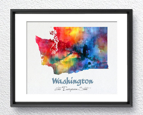Washington State Map USA, Watercolor Print, Art Print, Wall Art Poster, Wall Decor, Art Home Decor, Wall Hanging, Maps Item 210