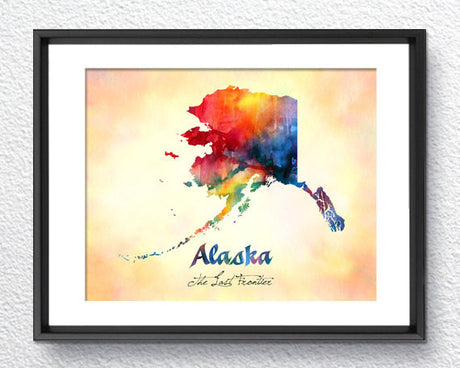 Alaska State Map USA, Watercolor Print, Art Print, Wall Art Poster, Wall Decor, Art Home Decor, Wall Hanging Item 200