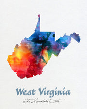 West Virginia State Map USA, Watercolor Print, Art Print, Wall Art Poster, Wall Decor, Art Home Decor, Wall Hanging, Maps Item 212