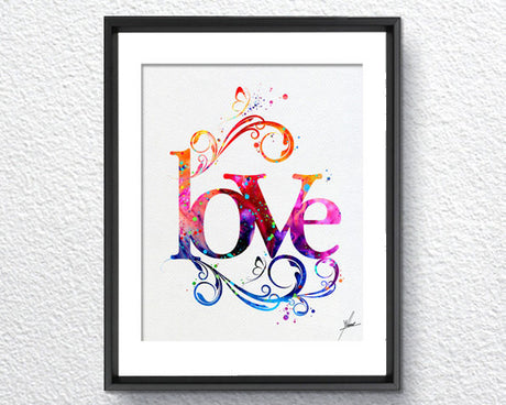 Love Art Print Typography Art Watercolor Art Print Poster Giclee Wall Decor Art Home Decor Wall Hanging Item 214