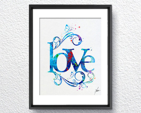 Love Art Print Typography Art Watercolor Art Print Poster Giclee Wall Decor Art Home Decor Wall Hanging Item 213