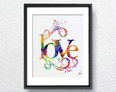 Love Art Print Typography Art Watercolor Art Print Poster Giclee Wall Decor Art Home Decor Wall Hanging Item 215