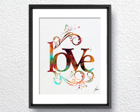 Love Art Print Typography Vintage Art Watercolor Art Print Poster Giclee Wall Decor Art Home Decor Wall Hanging Item 216